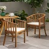 2pk Alondra Wooden Patio Dining Chairs - Christopher Knight Home - image 2 of 4