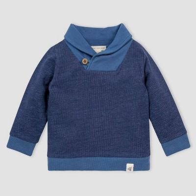 Burt's Bees Baby® Baby Boys' Organic Cotton French Terry Shawl Collar Sweatshirt - Blue 3-6M