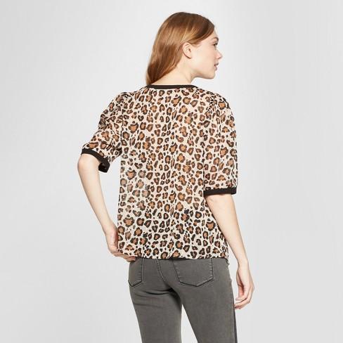 f26fbe3b245 Women s Leopard Print Short Sleeve Woven T-Shirt - A New Day™ Beige ...