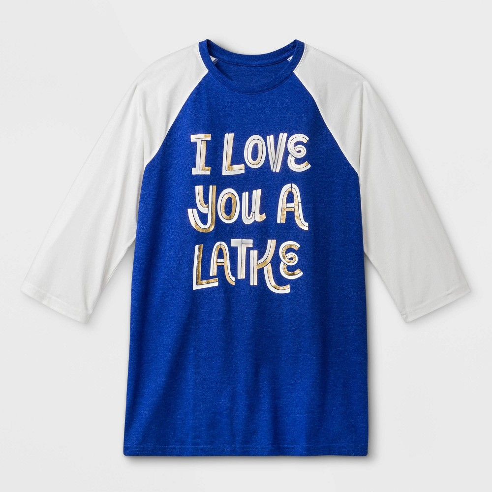 "Image of ""Men's """"I Love You A Latke"""" Raglan Sleeve Graphic T-Shirt - Blue M, Size: Medium, Purple"""