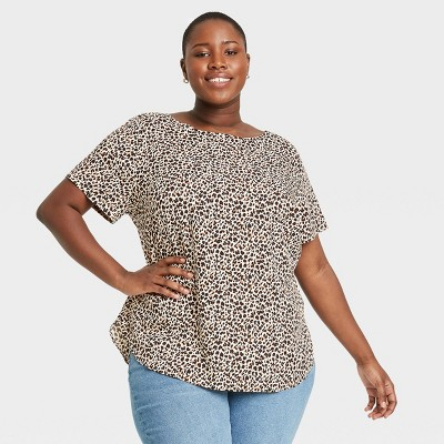 Women's Plus Size Short Sleeve Popover Blouse - Ava & Viv™