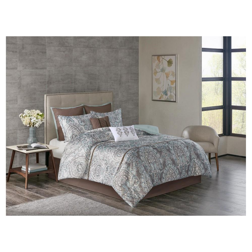 Lansing Charmeuse Print Version 2 Comforter Set (King) 8pc, Brown