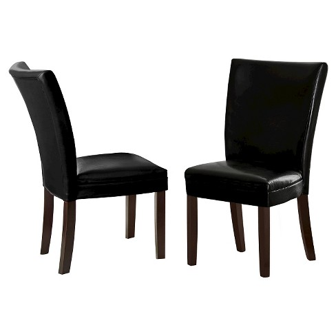 Margo Bonded Leather Parsons Chairs Wood/Black (Set of 2) - Steve Silver Company - image 1 of 1