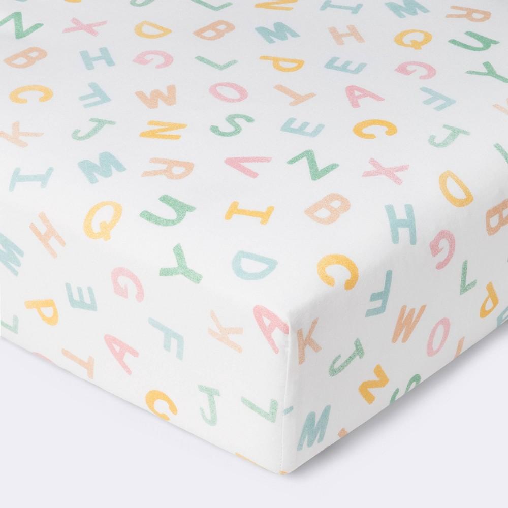 Fitted Crib Sheet Alphabet Cloud Island 8482 Pink Green Yellow