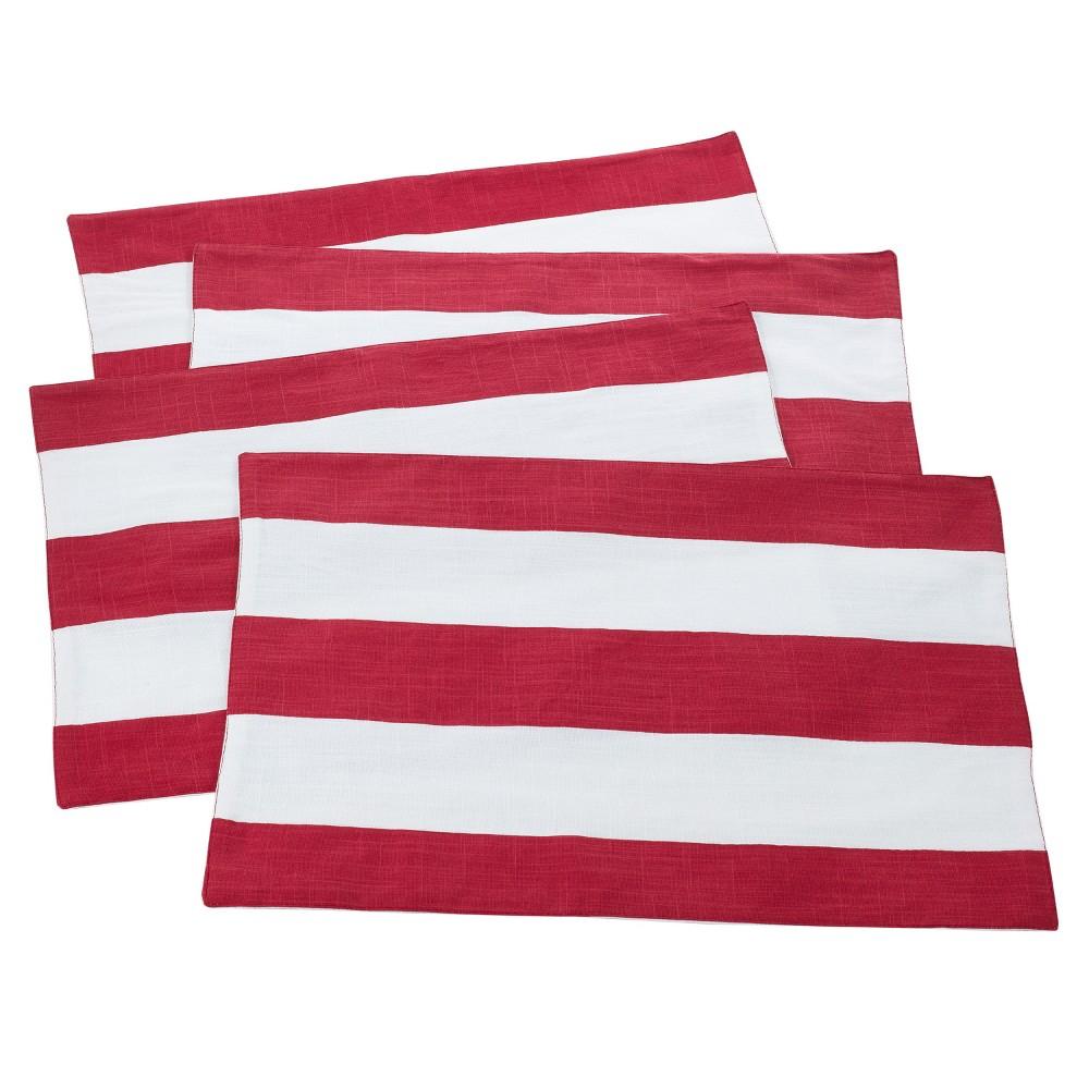 4pk Red Saint John Striped Design Placemat 14 34 X20 34 Saro Lifestyle