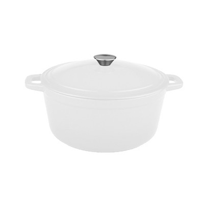 BergHOFF Neo 5 Qt Cast Iron Oval Covered Casserole White