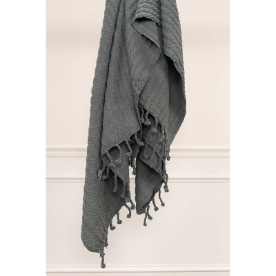 """50""""x60"""" Textured Striped Throw Gray - Rizzy Home"""