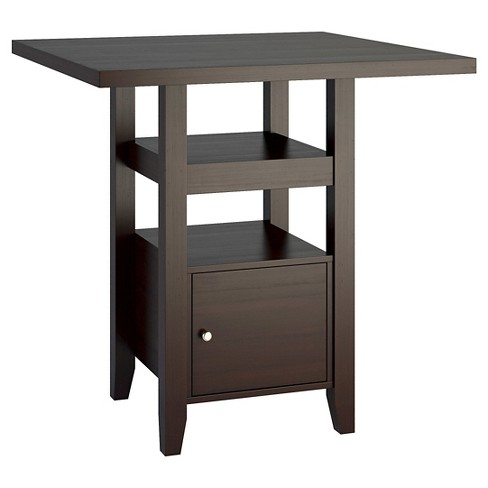 Bistro 36 Counter Height Dining Table With Cabinet Wood Cuccino Corliving