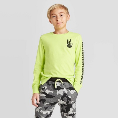 Boys' Long Sleeve Graphic T-Shirt - art class™ Green S