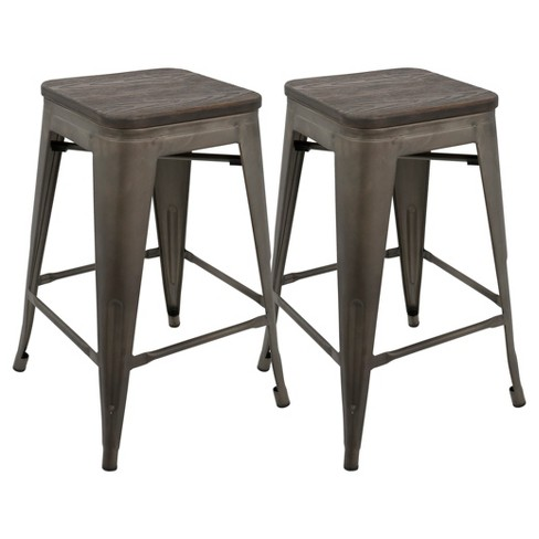 "Oregon 24"" Industrial Stackable Counter Stool - Set of 2 - LumiSource - image 1 of 8"
