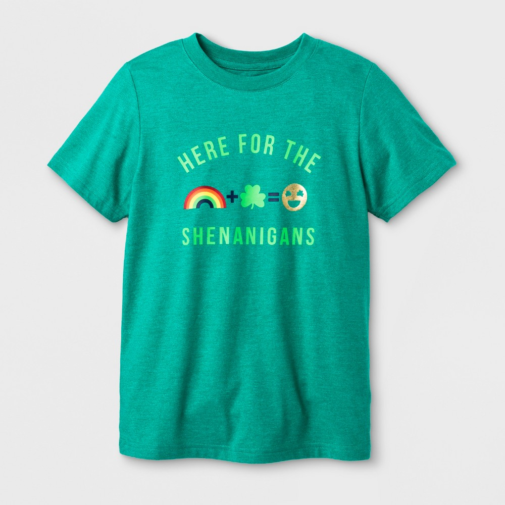 Boys' Short Sleeve 'Here for The Shenanigans' T-Shirt - Cat & Jack Green M