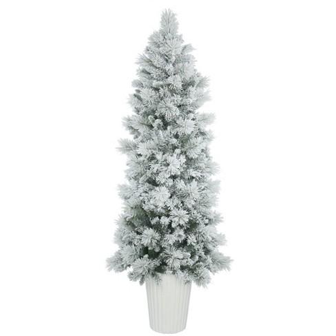 7ft Unlit Potted Castle Pine Artificial Christmas Tree Slim Target