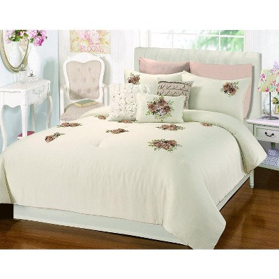 Chic Home Rosetta Floral Bouquet Applique Comforter Bed In A Bag Set 5 Piece - Beige