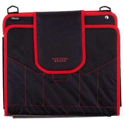 "Five Star 1100 Sheet 2"" Zipper Ring Binder Black/Red"