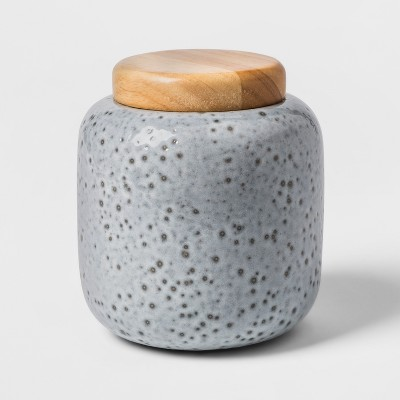 Decorative Earthenware Canister - Grey/Black - Threshold™