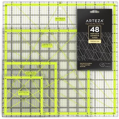 Arteza Acrylic Quilter's Ruler Kit, Non-Slip Rings, 5 Piece Set