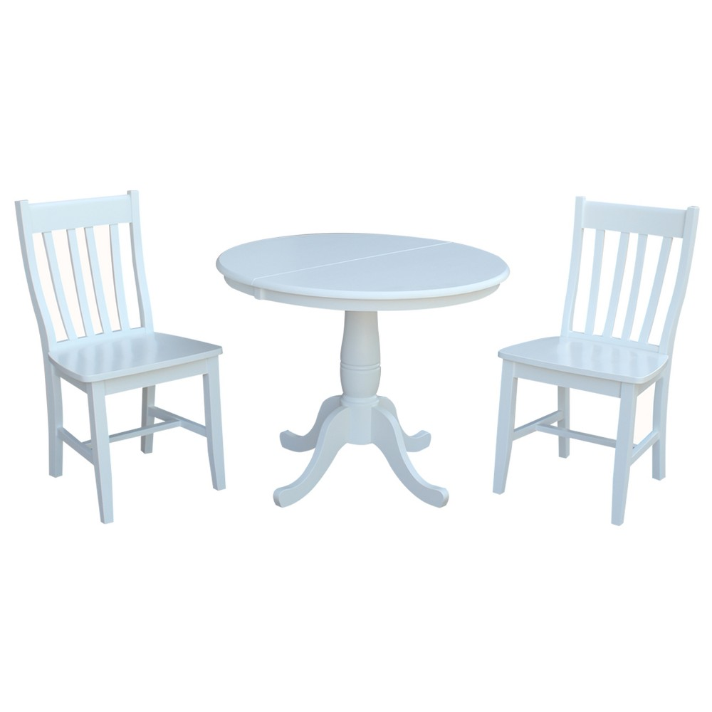 36 3pc Astrid Round Extension Dining Table with 2 Cafe Chairs Set White - International Concepts