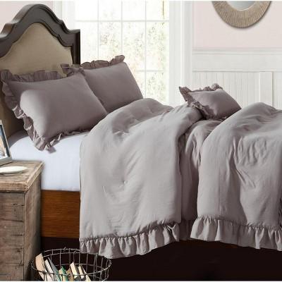Lily NY Pre-Washed Farmhouse Ruffled Comforter 4 Pc Set