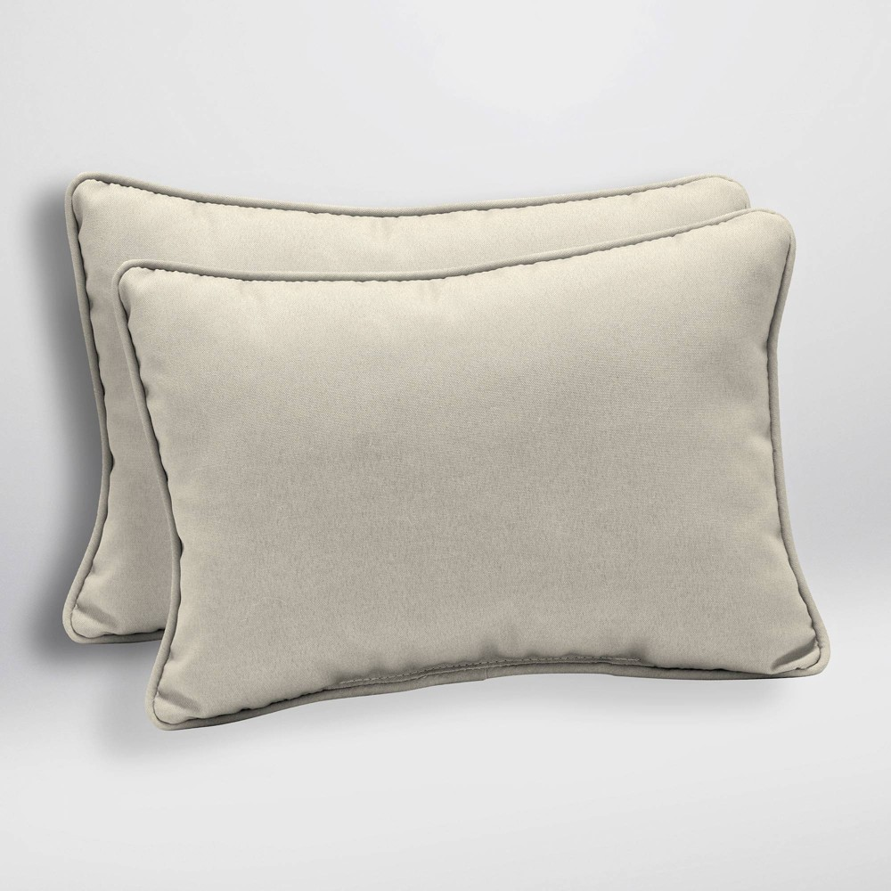 Image of 2pk Canvas Texture Oversized Outdoor Lumbar Pillows Sand (Brown) - Arden Selections