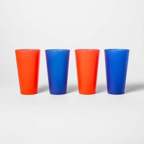 21oz 4pk Plastic Tumblers Red/Blue - Sun Squad™ - image 1 of 1