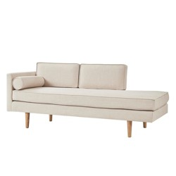 Kirsten Mid-Century Chaise Lounge with Cushion - Beige Linen - Inspire Q