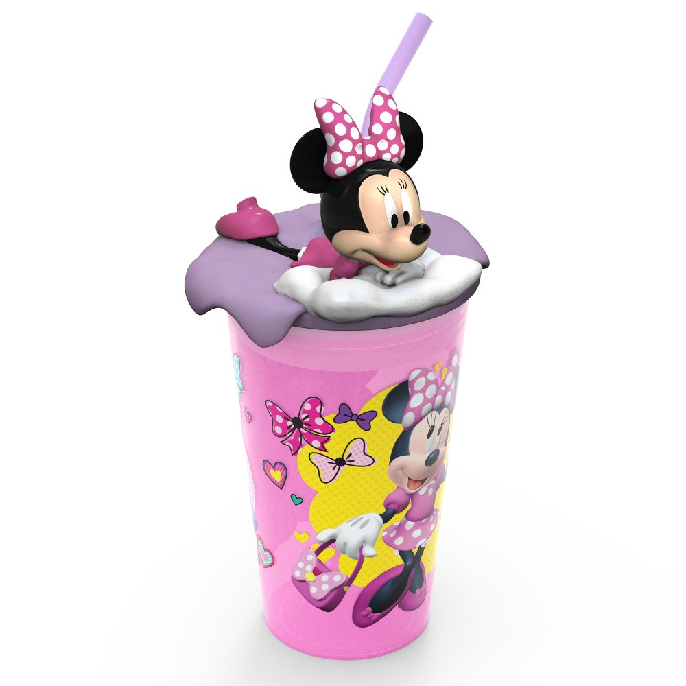 Image of Mickey Mouse & Friends Minnie Mouse 15oz Plastic Cup With Lid And Straw Pink/Purple, Multi-Colored