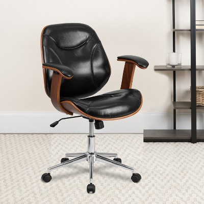 Emma and Oliver Mid-Back Black LeatherSoft Executive Ergonomic Wood Swivel Office Chair - Arms