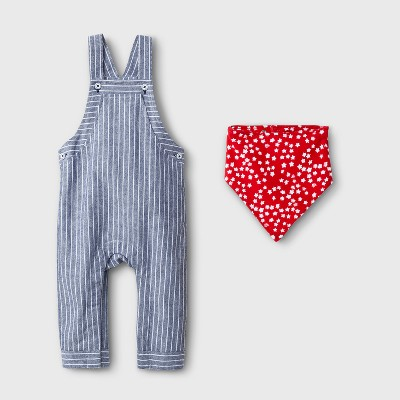 Baby Boys' 2pc Railroad Stripe Overall and Bib Set - Cat & Jack™ Light Wash 3-6M