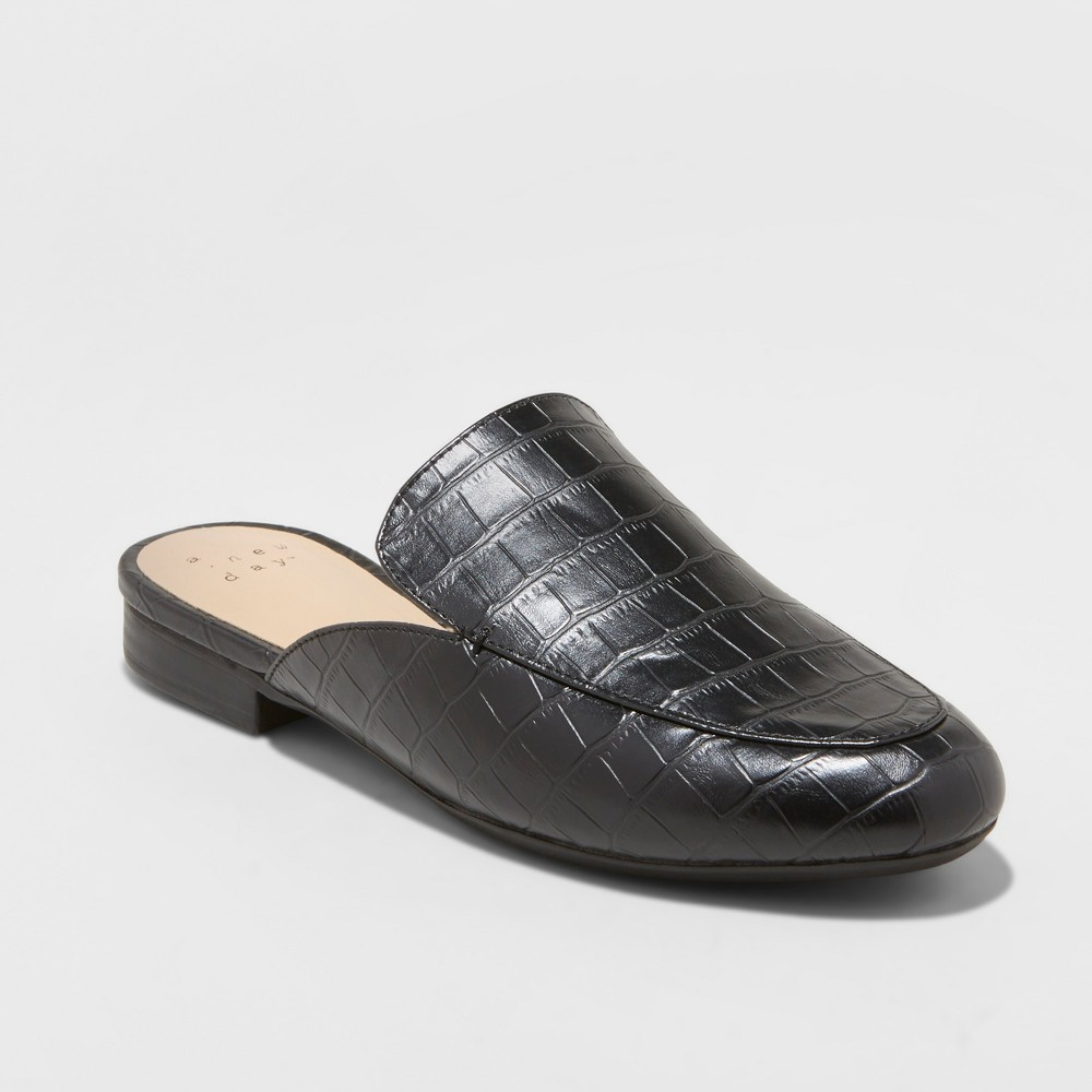 Women's Anney Wide Width Backless Mules - A New Day Black 11W, Size: 11 Wide