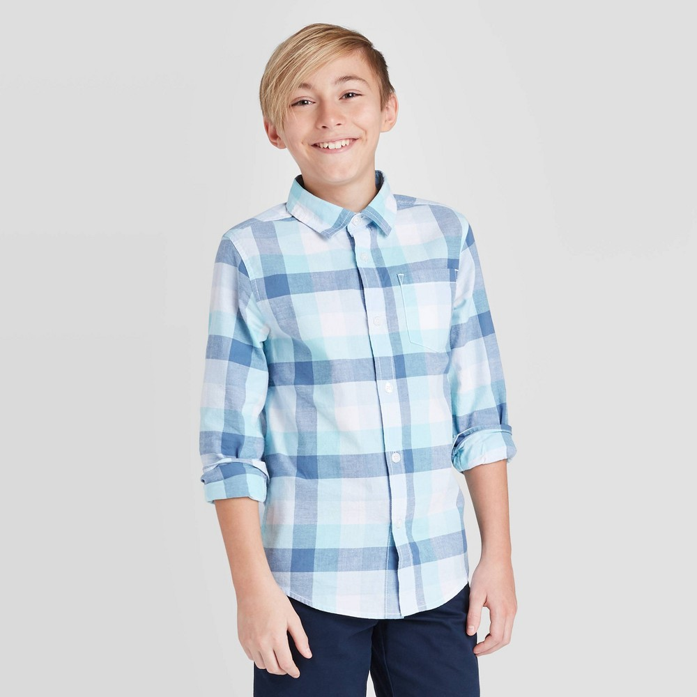 Image of Boys' Long Sleeve Button-Down Shirt - Cat & Jack Navy/White L, Boy's, Size: Large, Blue