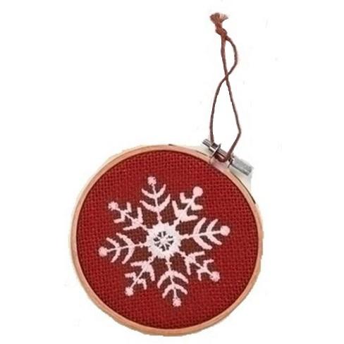 Roman 4 5 Red And White Snowflake In Hoop Loom Christmas Ornament Target