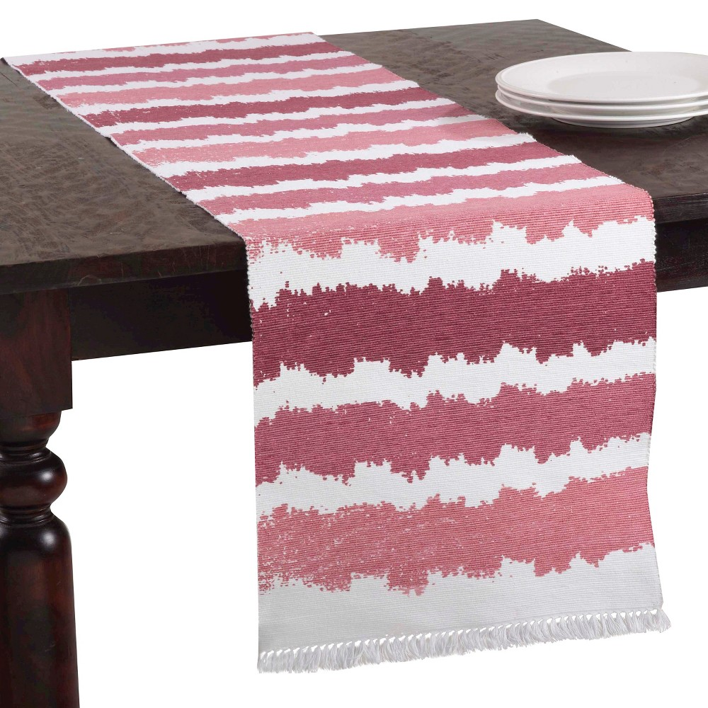 Ribbed Ombré Design Runner Rouge (16x72), Red