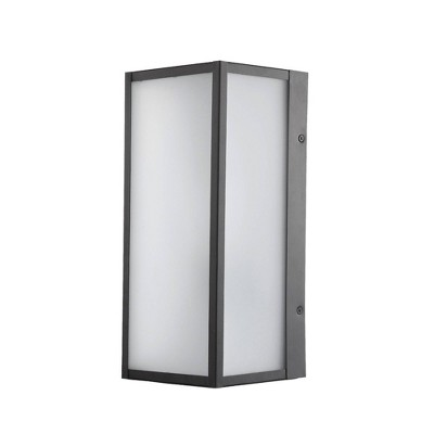 1 Light Lessard Outdoor Wall Sconce with Frosted Glass Inserts Dark Bronze - Globe Electric