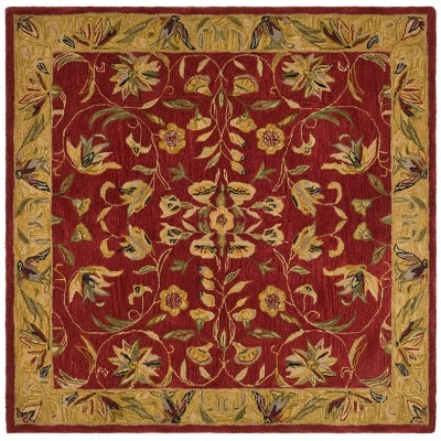 Burgundy/Gold Floral Tufted Square Area Rug 6'X6' - Safavieh