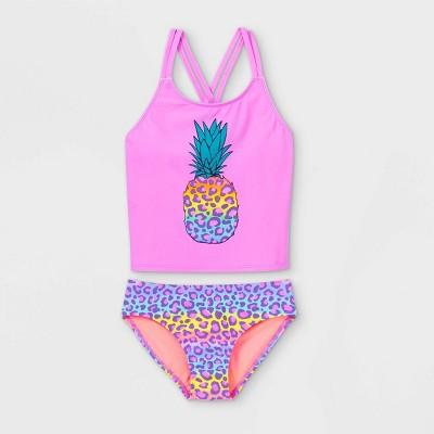 Girls' Rainbow Leopard Pineapple Print Tankini Set - Cat & Jack™ Violet