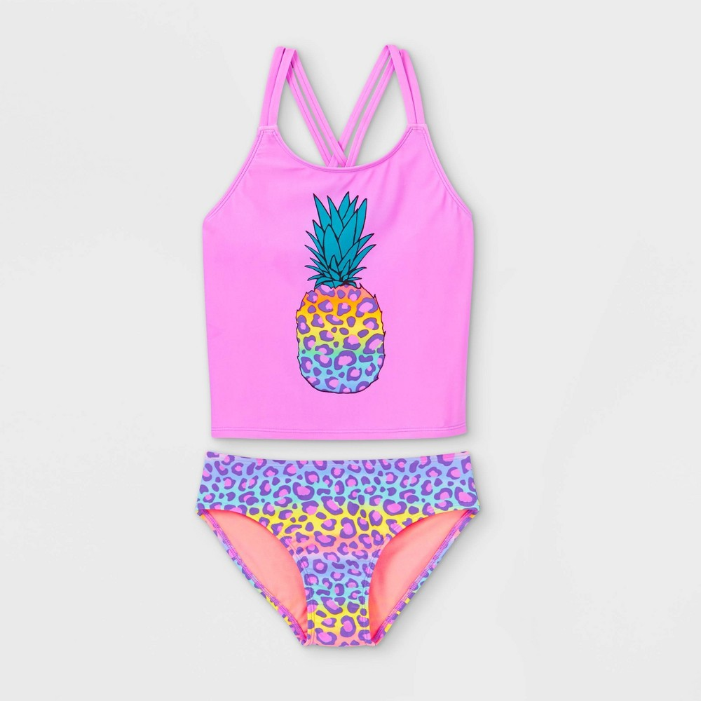 Girls 39 Rainbow Leopard Pineapple Print Tankini Set Cat 38 Jack 8482 Violet Xs