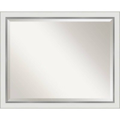 "31"" x 25"" Eva White Silver Framed Bathroom Vanity Wall Mirror - Amanti Art"