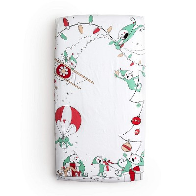 "JumpOff Jo Fitted Crib Sheet, Cotton Crib Sheet for Standard Sized Crib Mattresses, Hypoallergenic and Breathable, 28"" x 52"", Christmas Mischief"