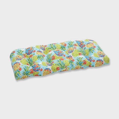 Hala Kahiki Tropic Wicker Outdoor Loveseat Cushion Blue - Pillow Perfect - image 1 of 1