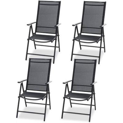 4pc Adjustable Patio Folding Chairs - Black - Captiva Designs