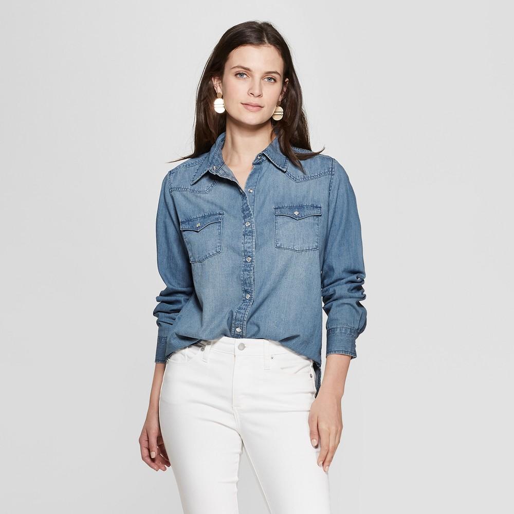 Women's Long Sleeve Crew Neck T-Shirt - Universal Thread Blue M