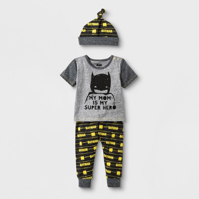 Baby Boys' DC Comics Batman 3pc Short Sleeve T-Shirt Jogger and Hat Set - Gray 0-3M