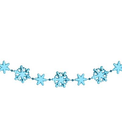 "Northlight 8' x 1"" Shiny Blue Snowflakes Beaded Christmas Garland - Unlit"