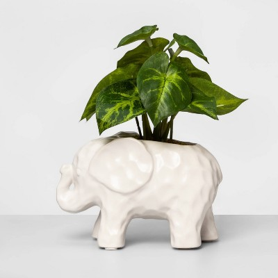 "8"" X 7"" Artificial Arrowhead Plant In Elephant Pot White/Green   Opalhouse by Opalhouse"