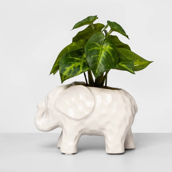 """8"""" x 7"""" Artificial Arrowhead Plant in Elephant Pot White/Green - Opalhouse™ - image 1 of 1"""