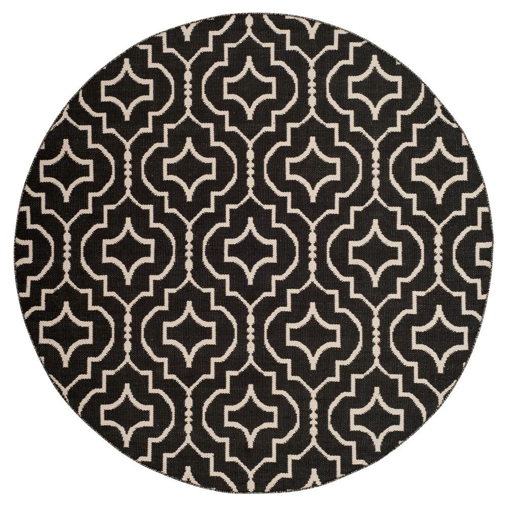 Black Ivory Quatrefoil Design Woven Round Area Rug 6 Safavieh