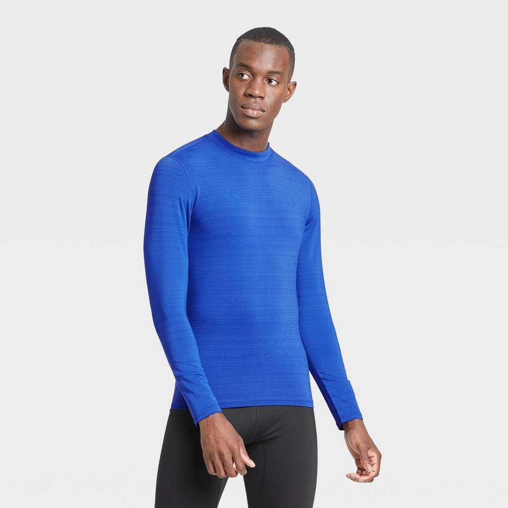 Men's Long Sleeve Fitted Cold Mock T-Shirt - All in Motion Blue XXL was $22.0 now $11.0 (50.0% off)