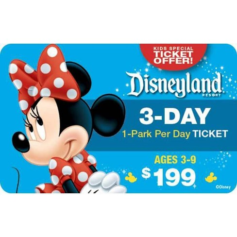 Disneyland Resort 3 Day 1-Park Per Day Ticket Ages 3-9 $199 (Email Delivery) - image 1 of 1