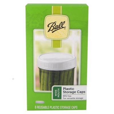 Ball 8ct Mason Jar Plastic Storage Caps - Wide Mouth