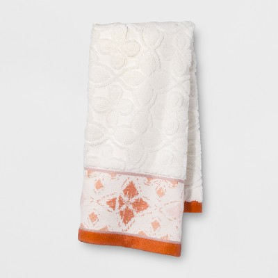 Diamond Border Hand Towel White/Orange - Opalhouse™